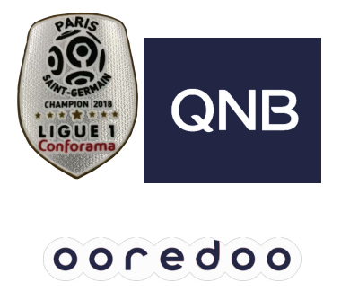 2018 French Ligue 1 Champion Badge & QNB Sponsor(White)&OOREDOO Sponsor--$5