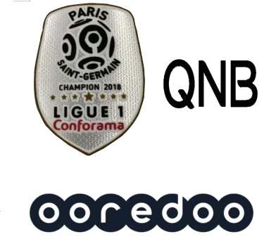 2018 French Ligue 1 Champion Badge & QNB Sponsor(Black)&OOREDOO Sponsor--$5