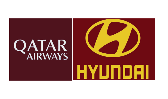 Qatar Airways(White)&Hyundai(Yellow)Sponsor--$0