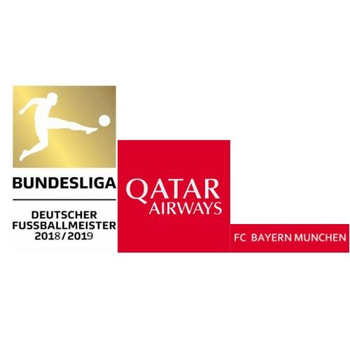 German Bundesliga 18/19 Champions Badge&Qatar Airways(White)&FC BAYERN MUNCHEN(White)--$5