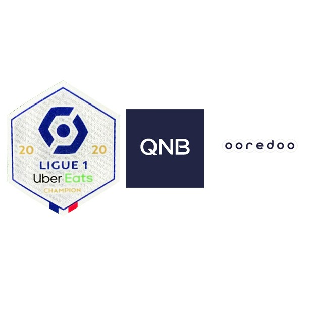 2020 French Ligue 1 Champion Badge & OOREDOO Sponsor(White) & QNB Sponsor(White)