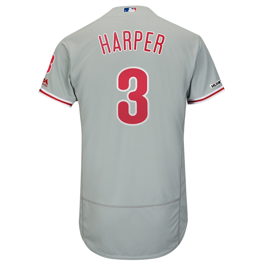 Bryce Harper Philadelphia Phillies Majestic Away Flex Base Authentic Collection Player Jersey - Gray