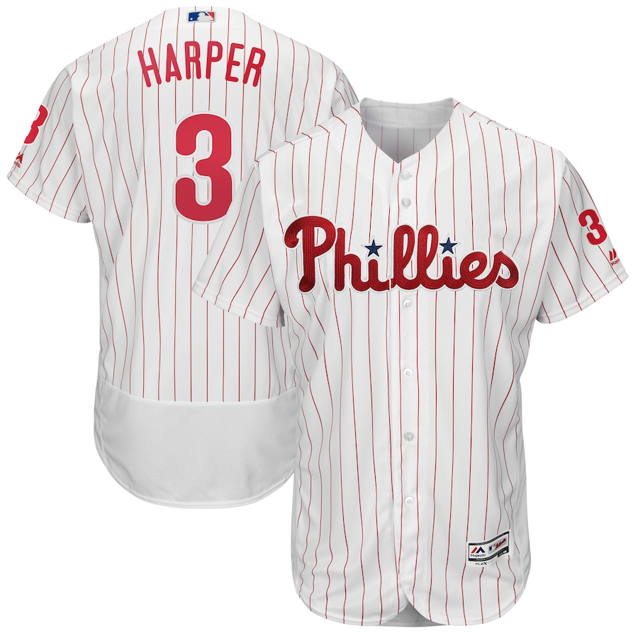 Bryce Harper Philadelphia Phillies Majestic Home Flex Base Authentic Collection Player Jersey - White/Scarlet