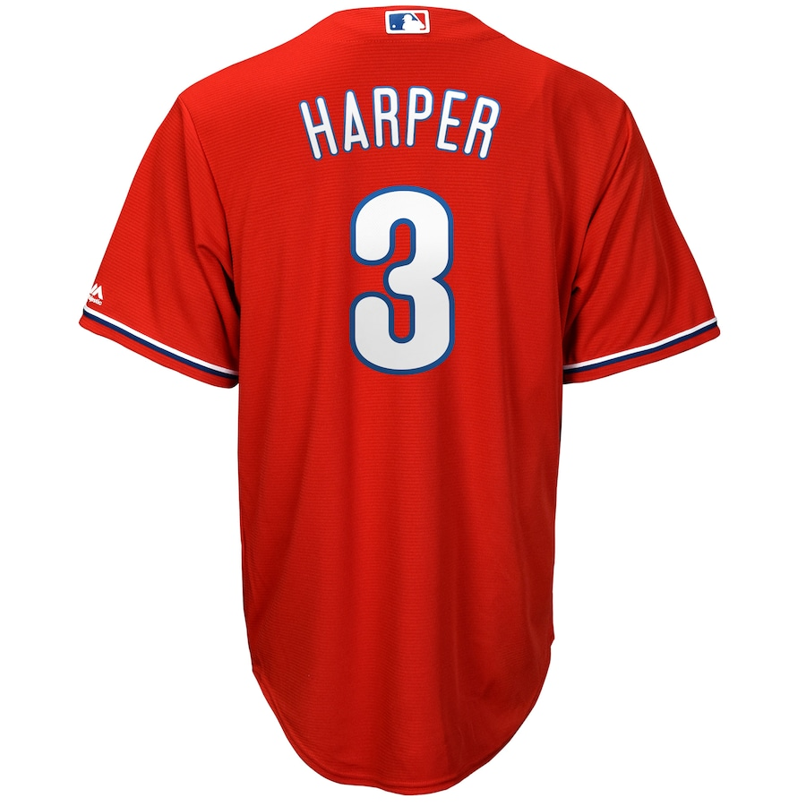 Bryce Harper Philadelphia Phillies Majestic Official Cool Base Player Jersey - Scarlet