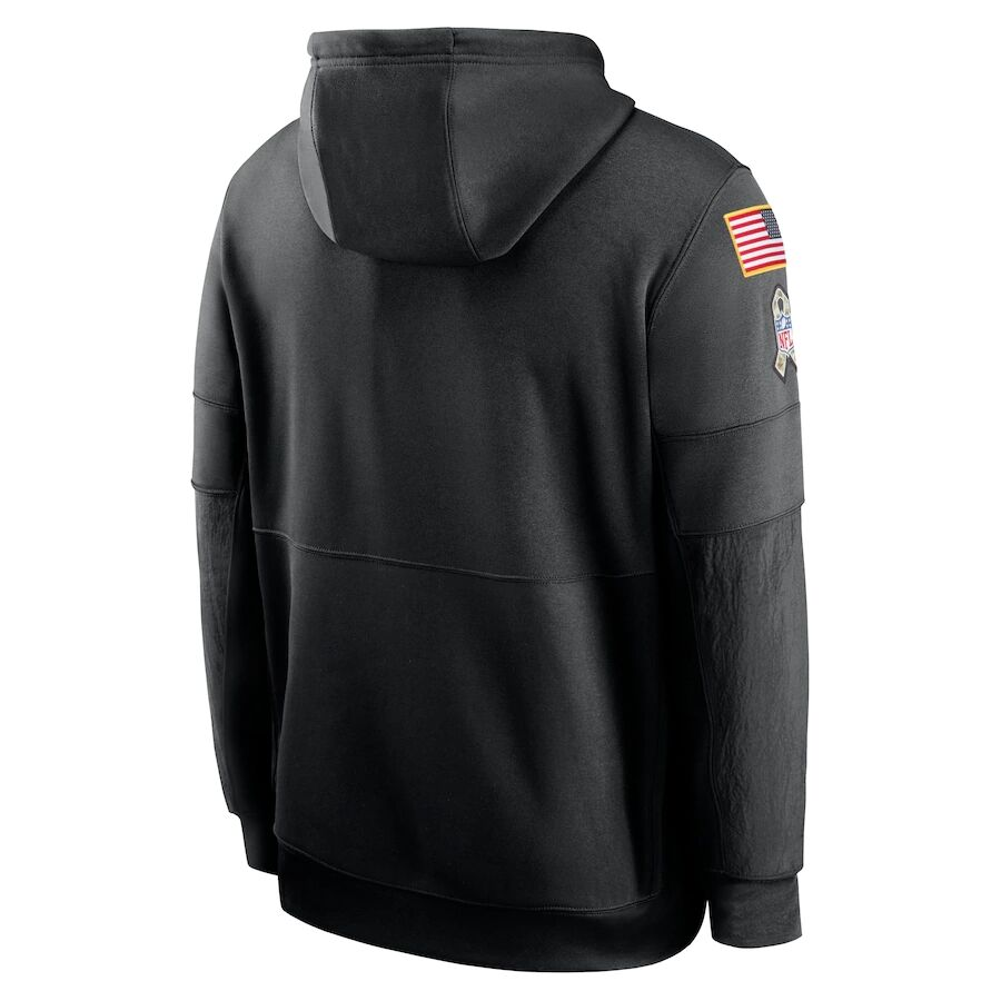 Men's New England Patriots Black 2020 Salute to Service Sideline Performance Pullover Hoodie