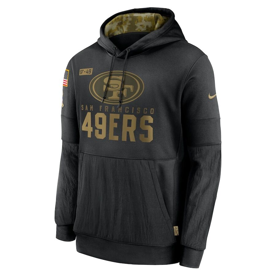 Men's San Francisco 49ers Black 2020 Salute to Service Sideline Performance Pullover Hoodie