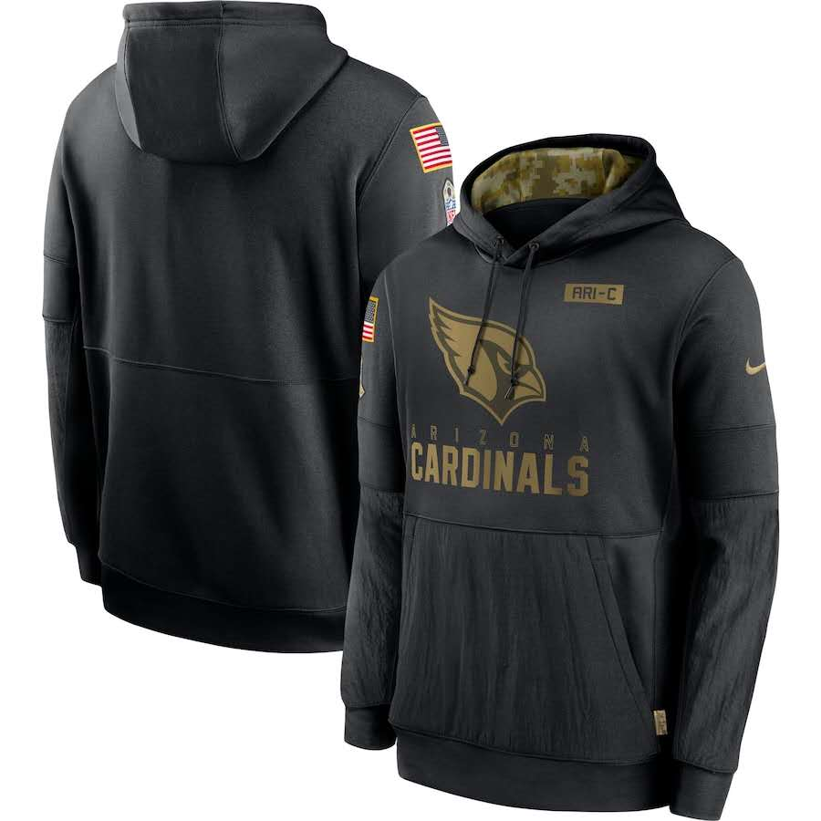 Men's Arizona Cardinals Black 2020 Salute to Service Sideline Performance Pullover Hoodie
