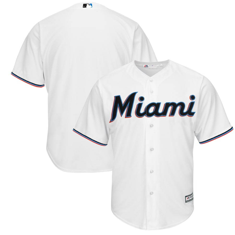 Miami Marlins Majestic Home 2019 Official Cool Base Team Jersey - White