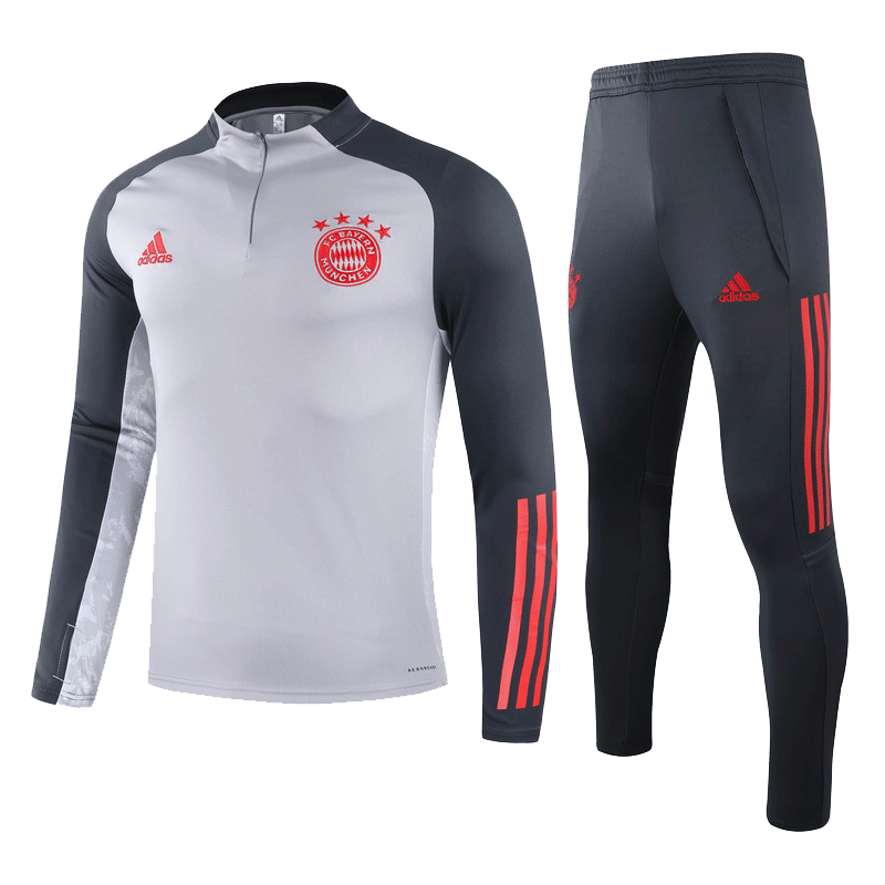 20/21 Bayern Munich Gray Zipper Sweat Shirt Kit(Top+Trouser)