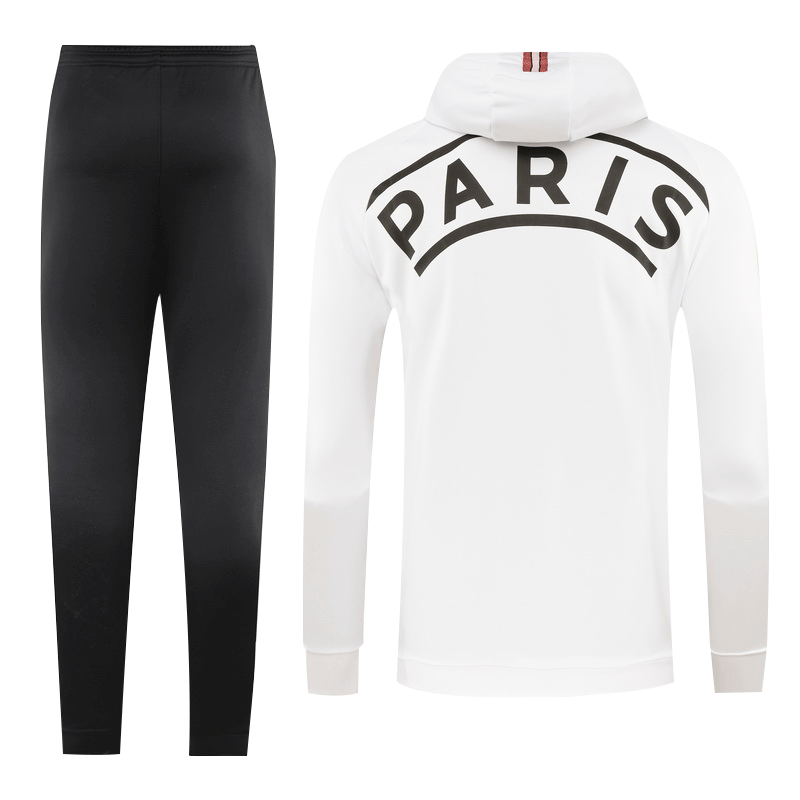 20/21 PSG White Hoodie Training Kit(Jacket+Trouser)